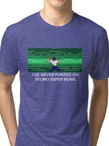 NES Nintendo Tecmo Super Bowl I've Never Punted Tri-blend T-Shirt