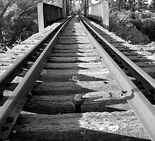 Black and White Disused Railway Bridge by Peter Clements
