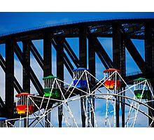 Ferris Wheel and the Bridge Photographic Print