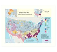 Top US Ancestries by county Map Art Print