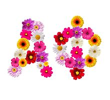 Alpha Phi Flower Letters Photographic Print
