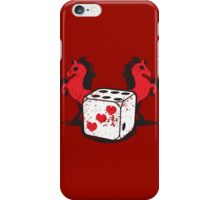 Red rearing rockabilly horses with dice distressed  iPhone Case/Skin