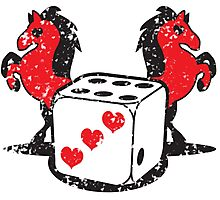 Red rearing rockabilly horses with dice distressed  Photographic Print