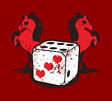Red rearing rockabilly horses with dice distressed  by jazzydevil