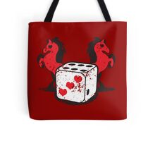 Red rearing rockabilly horses with dice distressed  Tote Bag