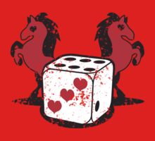 Red rearing rockabilly horses with dice distressed  Kids Clothes