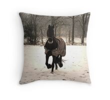 Frisian Horse in  the Snow Throw Pillow