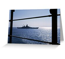 USS Wisconsin from the deck of the Antietam Greeting Card