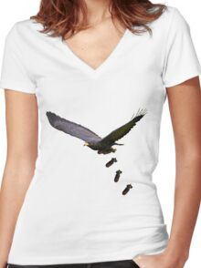 Cool Eagle  Women's Fitted V-Neck T-Shirt