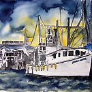Tybee Island Georgia Shrimp Boat Nautical Art by derekmccrea