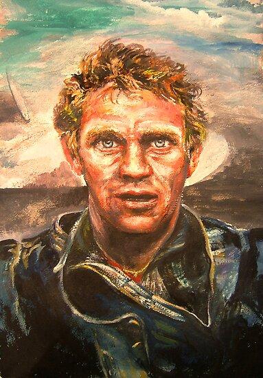 Watercolor-Steve McQueen, SOLD 12/10/10 by Barbara Sparhawk