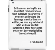 Both dreams and myths are important communications from ourselves to ourselves. If we do not understand the language in which they are written, we miss a great deal of what we know and tell ourselves iPad Case/Skin