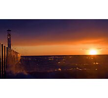Sun Set In Grand Bend With Light House and Pier Photographic Print