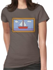 Sail Boat Artwork Womens Fitted T-Shirt