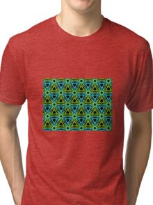 GEOMETRIC design, textiles blue, green Tri-blend T-Shirt