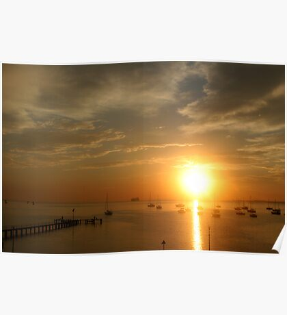 Sunrise over yachts Poster
