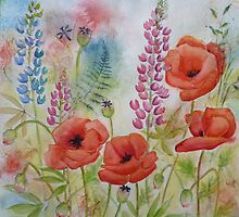 Oriental Poppies in the Meadow by Carla Parris