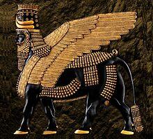 ALADLAMMU  ASSYRIAN WING MAN BULL PILLOW OR TOTE BAG by ✿✿ Bonita ✿✿ ђєℓℓσ