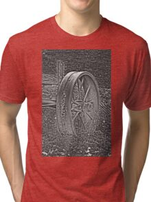 Wagon Wheel Black and White Gray Old Antique Abandoned Photograph Tri-blend T-Shirt