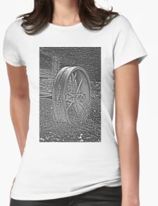 Wagon Wheel Black and White Gray Old Antique Abandoned Photograph Womens Fitted T-Shirt