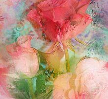 Pastel Impressionistic Romantic Roses by Carla Parris