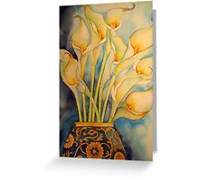 Arum Lilies in Vintage Vase 'Still Life' © Patricia Vannucci 2008 Greeting Card