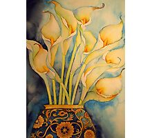 Arum Lilies in Vintage Vase 'Still Life' © Patricia Vannucci 2008 Photographic Print