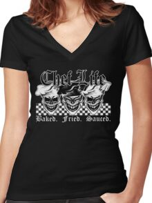 Laughing Chef Skulls: Baked, Fried, Sauced Women's Fitted V-Neck T-Shirt