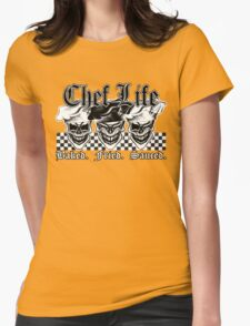 Laughing Chef Skulls: Baked, Fried, Sauced Womens Fitted T-Shirt