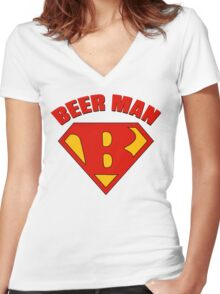 Beer Man Women's Fitted V-Neck T-Shirt