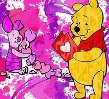 Pooh & Piglet Valentine by Lindsey Reese