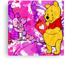 Pooh & Piglet Valentine Canvas Print
