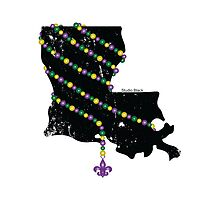 Louisiana Wrapped in Mardi Gras Beads 2.0 by StudioBlack