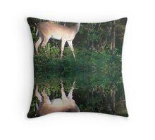 Deer Reflection Throw Pillow