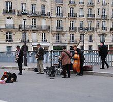 Band on The Bridge- Ile St Louis, Paris by mswendsen