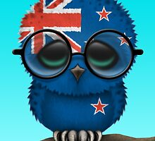 Nerdy New Zealand Baby Owl on a Branch by Jeff Bartels