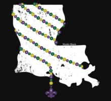 Louisiana Wrapped in Mardi Gras Beads 2.0 (White) Kids Clothes