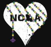 NOLA Heart Wrapped in Mardi Gras Beads (white) Kids Tee