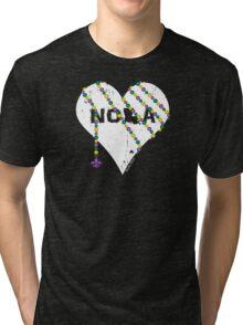 NOLA Heart Wrapped in Mardi Gras Beads (white) Tri-blend T-Shirt
