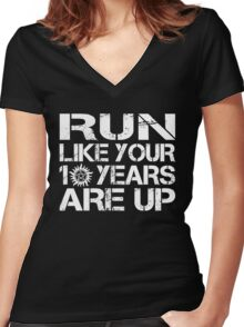 Run like your 10 years are up. Women's Fitted V-Neck T-Shirt