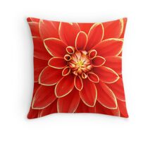 red dahlia with yellow edges Throw Pillow