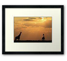 Giraffe Sunset - African Wildlife - Silhouette Pair Framed Print