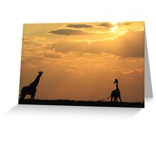 Giraffe Sunset - African Wildlife - Silhouette Pair Greeting Card