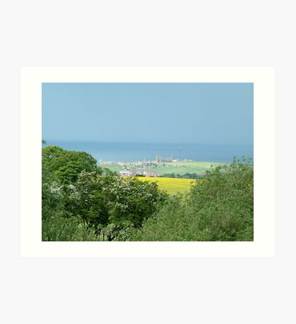 whitby abbey, from inland Art Print
