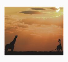 Giraffe Sunset - African Wildlife - Silhouette Pair Kids Tee