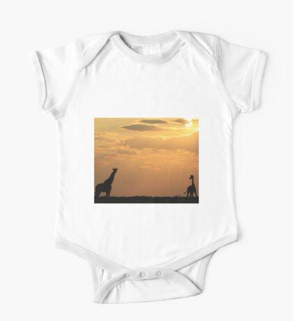 Giraffe Sunset - African Wildlife - Silhouette Pair One Piece - Short Sleeve