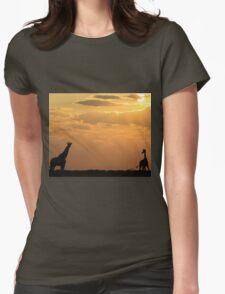 Giraffe Sunset - African Wildlife - Silhouette Pair Womens Fitted T-Shirt
