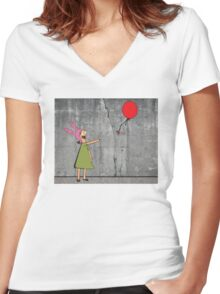 Banksy's Burgers Women's Fitted V-Neck T-Shirt