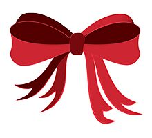Red Ribbon Bow Photographic Print