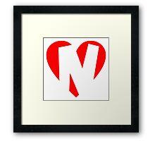 I love N - Heart N - Heart with letter N Framed Print